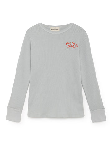 Bobo Choses Light Grey Always Never Rib T-Shirt | POCO KIDS