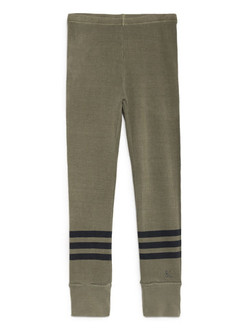 Bobo Choses Khaki Green Ribbed Blue Stripes Leggings | POCO KIDS