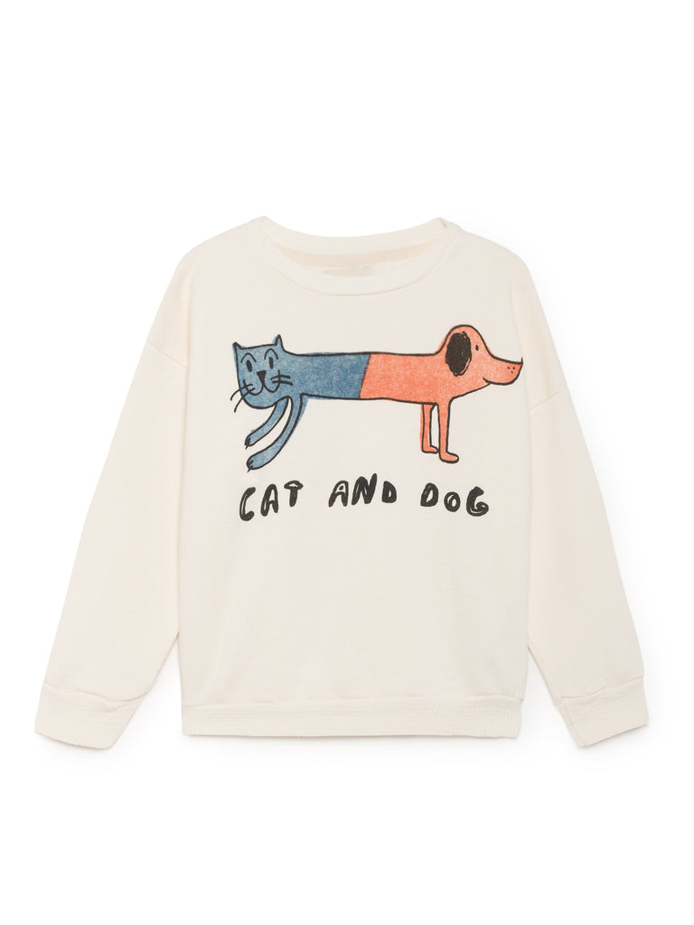 White Cat Dog Round Neck Sweatshirt