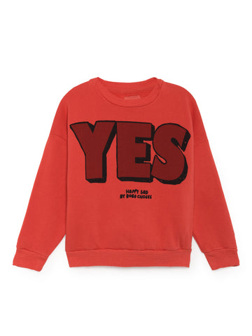 Bobo Choses Red Yes No Round Neck Sweatshirt | POCO KIDS