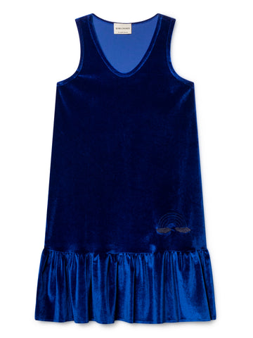 Bobo Choses Blue Velvet Dropped Wasit Dress | POCO KIDS