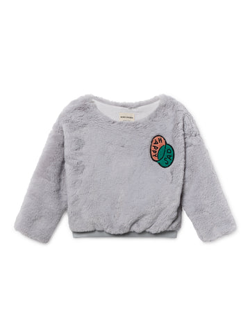 Bobo Choses Light Blue Happy Sad Faux Fur Top | POCO KIDS