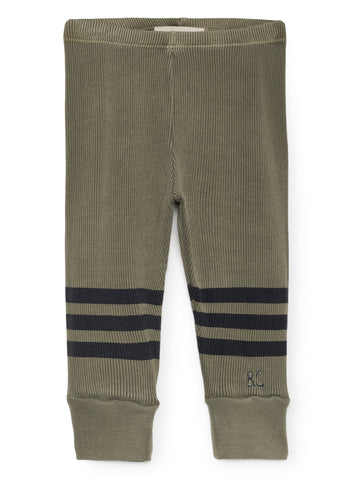 Bobo Choses Khaki Green and Blue Stripes Baby Leggings | POCO KIDS