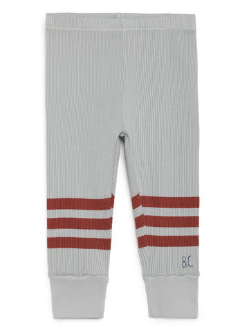Bobo Choses Light Grey and Red Stripes Baby Leggings | POCO KIDS