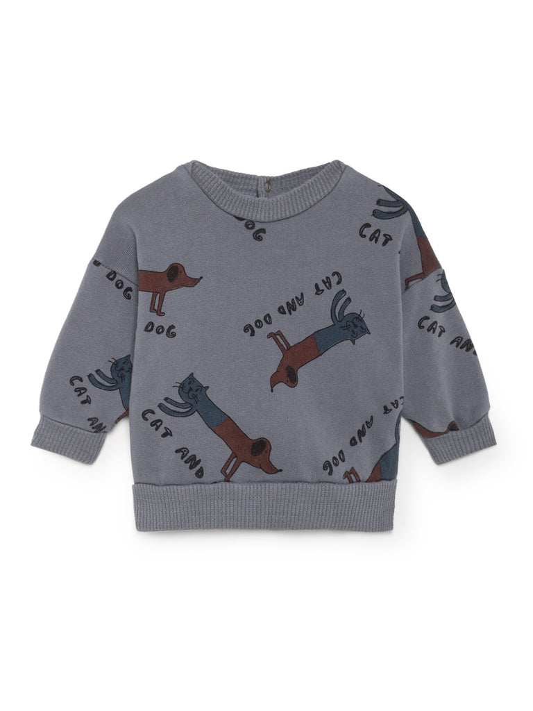 Bobo Choses Grey Cat Dog Baby Sweatshirt | POCO KIDS