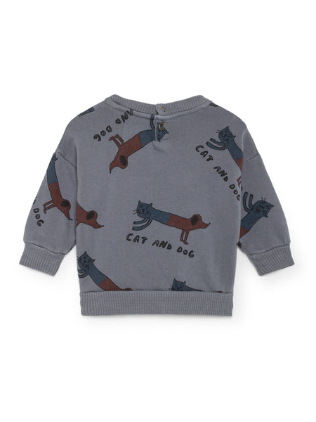 Bobo Choses Grey Cat Dog Baby Sweatshirt, back | POCO KIDS