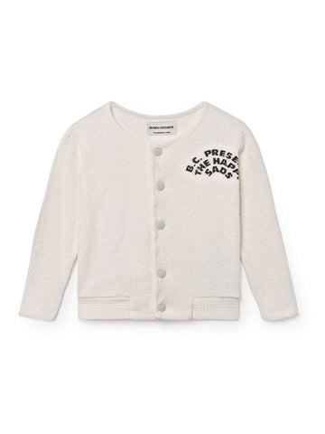 Bobo Choses White Happy Sads Baby Buttoned Sweatshirt | POCO KIDS