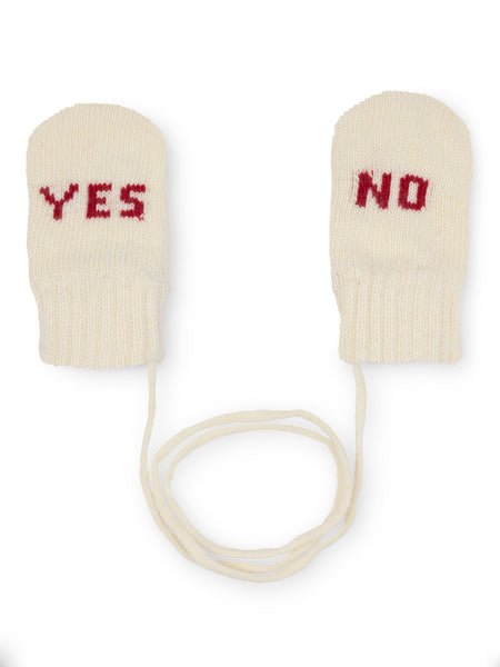 Off White Yes No baby Mittens