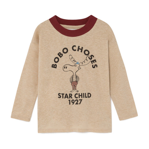 Bobo Choses Cream The Moose 1927 Star Child Long Sleeved T-Shirt | POCO KIDS