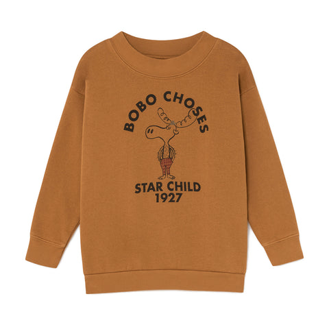 Bobo Choses Mustard Moose 1927 Star Child Sweatshirt | POCO KIDS