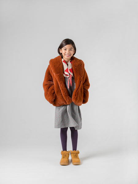 Bobo Choses Sudan Brown Faux Fur Jacket | POCO KIDS