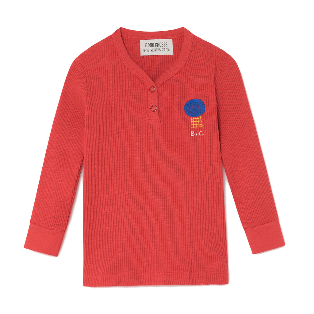 Bobo Choses Red Mercury Buttons Baby Long Sleeved T-Shirt | POCO KIDS