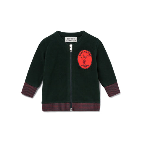 Bobo Choses Dark Green Bobo Polar Fleece Zipped Sweatshirt | POCO KIDS