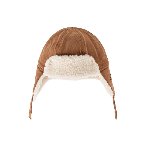 Bobo Choses Sudan Brown Corduroy and Faux Sheepskin Baby Hat | POCO KIDS