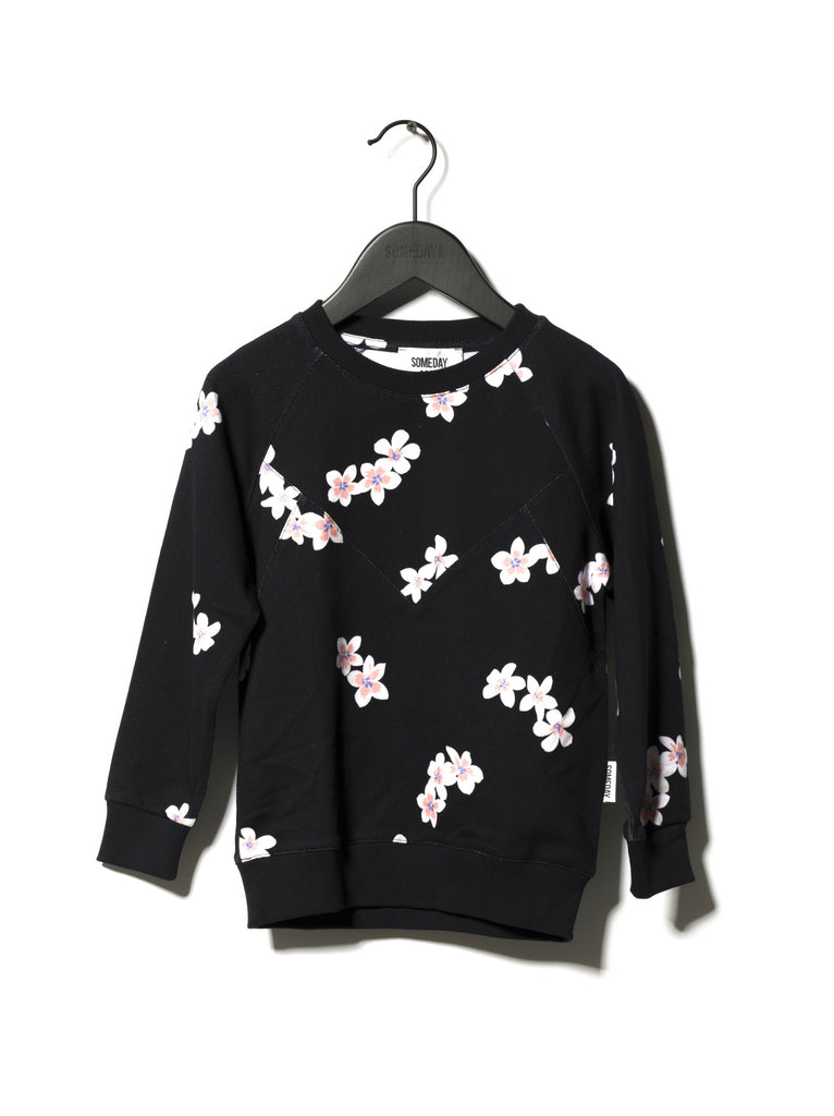 Someday Soon Black Orlando Crewneck Sweatshirt with Cherry Flower all over print  | POCO KIDS