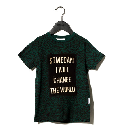 Someday Soon Green Leopard Print Someday T-Shirt | POCO KIDS