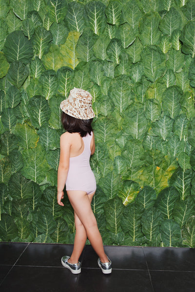 Agatha Cub Pink Swimsuit and Zombie Tan Bucket Hat, look book image | POCO KIDS