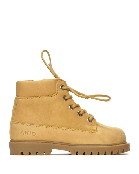 AKID Tan Atticus Boots, side view | POCO KIDS