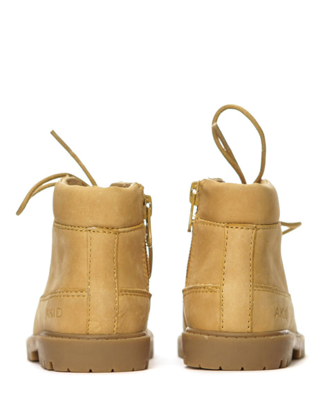 AKID Tan Atticus Boots, back view | POCO KIDS