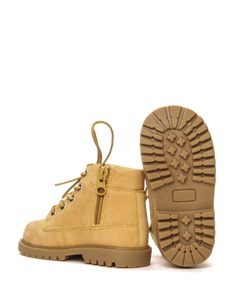 AKID Tan Atticus Boots, sole view | POCO KIDS