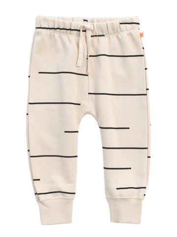 Tinycottons Beige Sweatpants with Black Lines Print and Soft Lining | POCO KIDS