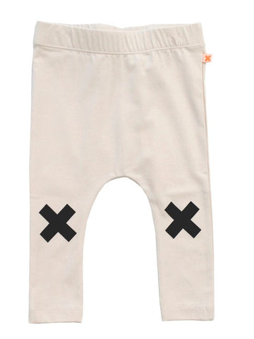 Tinycottons Beige Logo Leggings with Black Cross | POCO KIDS