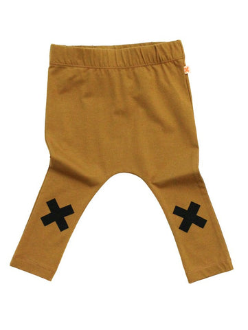 Tinycottons Mustard Brown Logo Leggings with Black Cross Print on the Knees| POCO KIDS