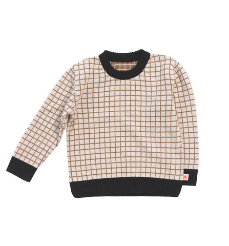 Tinycottons Mustard Brown and Beige Grid Sweater with Contrast Edge, Cotton and Merino Wool Blend | POCO KIDS