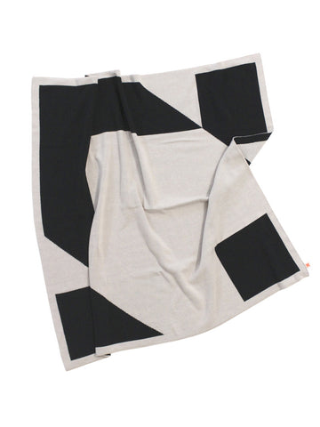Tinycottons Black and Beige Geometry Blanket, Cotton and Merino Wool | POCO KIDS