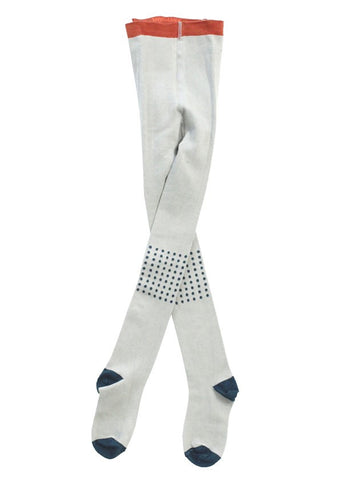 Tinycottons Light Blue Knitted Tights with Dots on the Kness and Contrast Edges | POCO KIDS