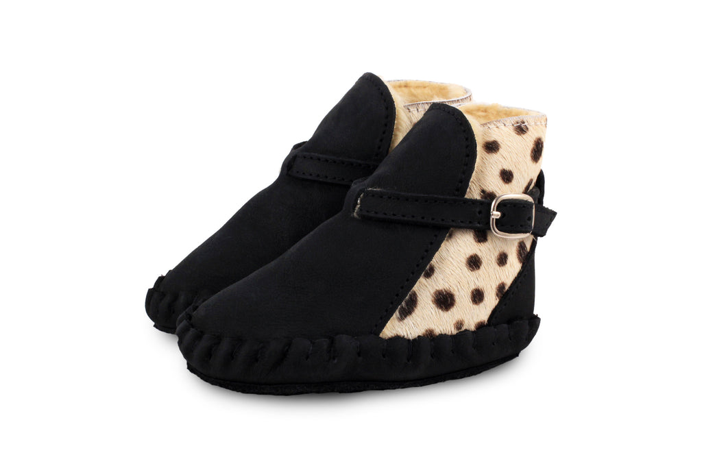 Donsje Black Abby Boots with Dalmatian Print Pony Fur Back and lined with Faux-Shearling | POCO KIDS