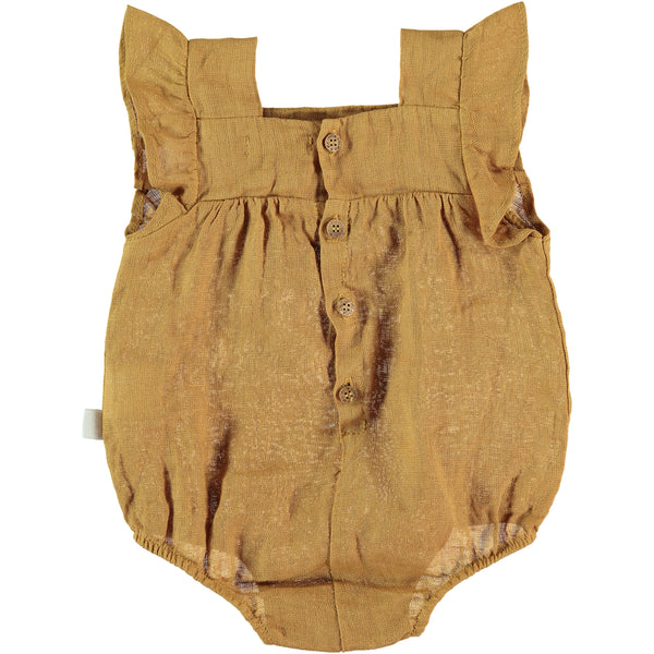 My Little Cozmo Mustard Alma Linen Romper, back | POCO KIDS