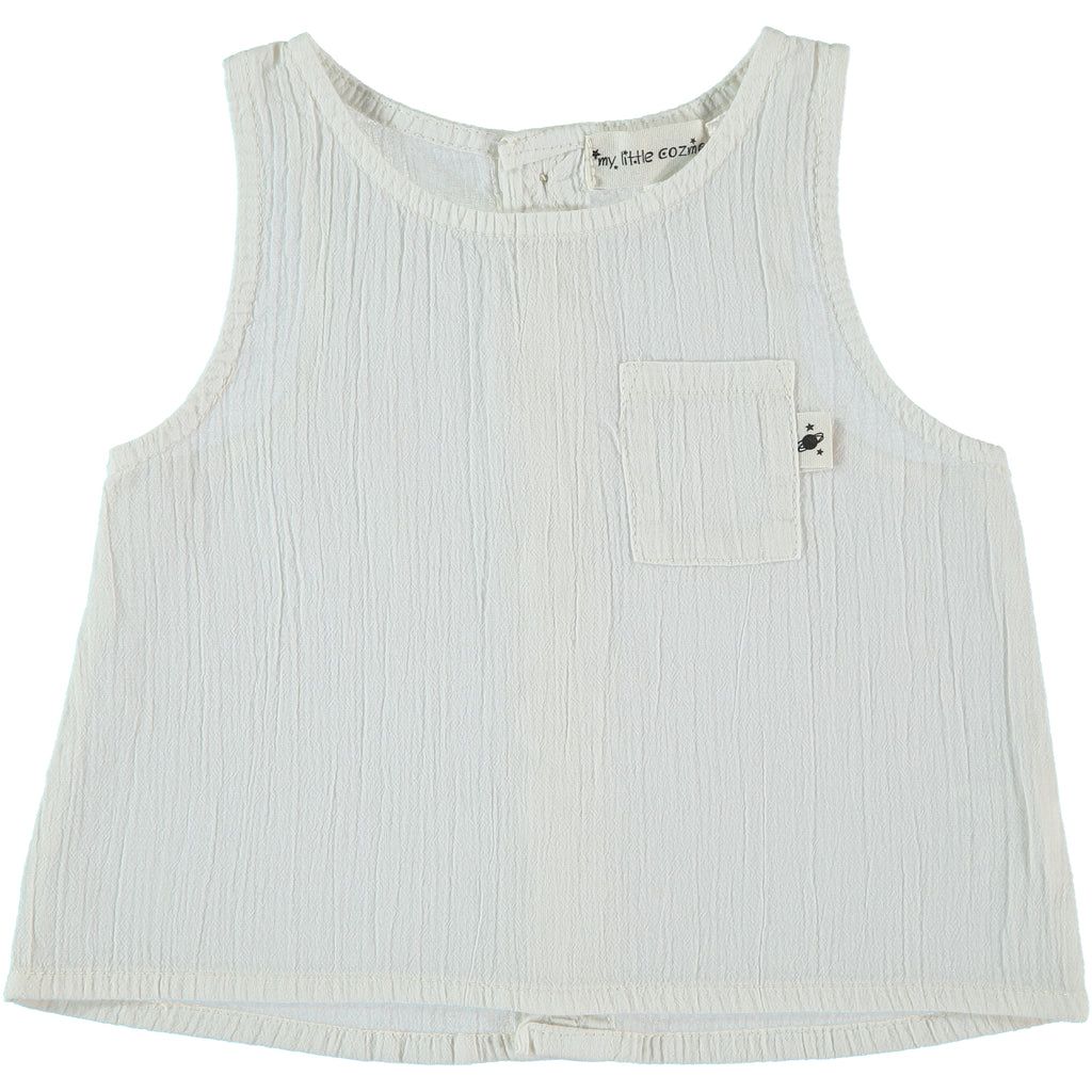 My Little Cozmo Ivory White Burmma Tank top | POCO KIDS