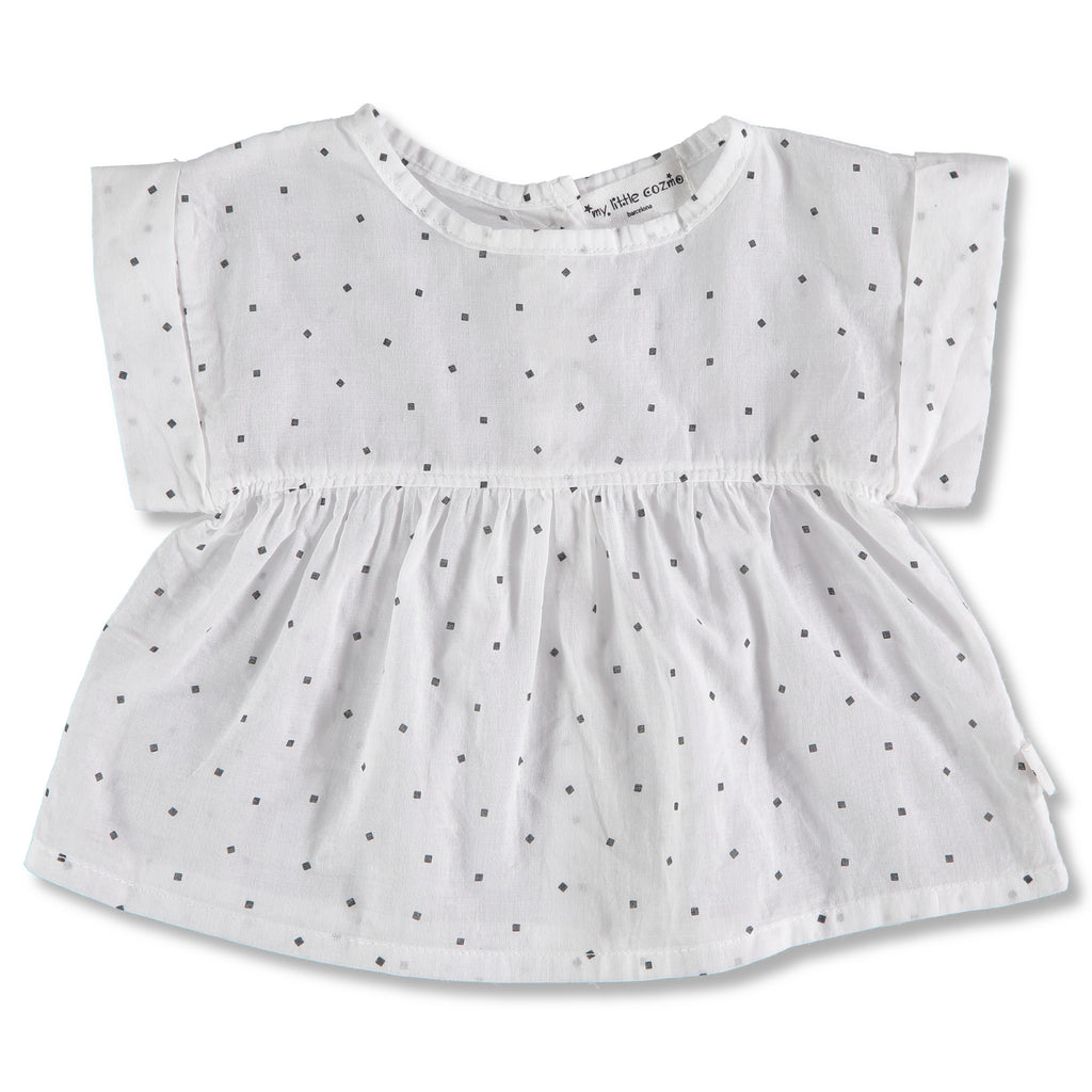My Littl Cozmo White Voile Cotton Square Polka Dots Dress | POCO KIDS
