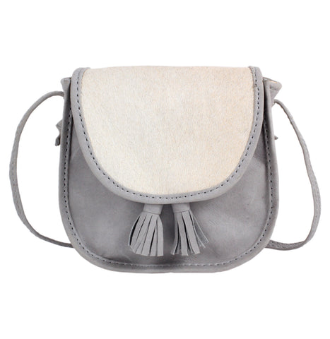 Donsje Light Grey Belle Bag with Cream Pony Fur (Cow Fur) | POCO KIDS