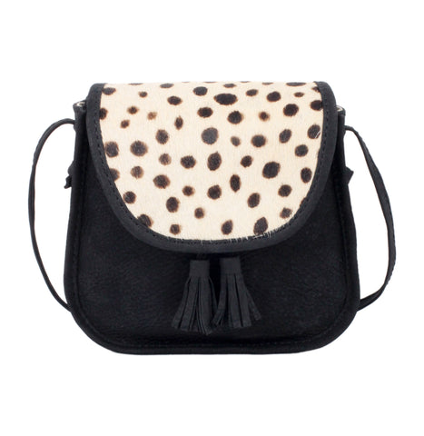 Donsje Black Leather Dalmation Print Pony Fur (Cow Fur) Belle Kids Bag | POCO KIDS