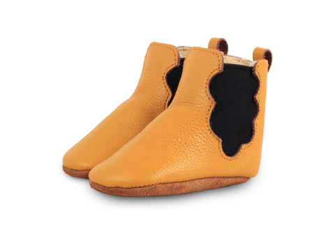 Donsje Ochre Cloud Booties with Faux-Shearling Lining | POCO KIDS