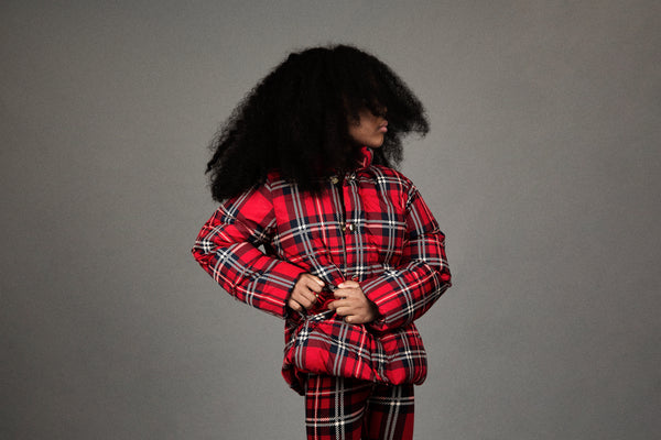 Mini Rodini Red Check Puffer Jacket, look book image | POCO KIDS