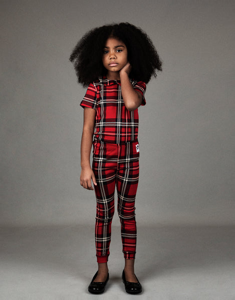 Mini Rodini Red Plaid Cuff Leggings, look book | POCO KIDS
