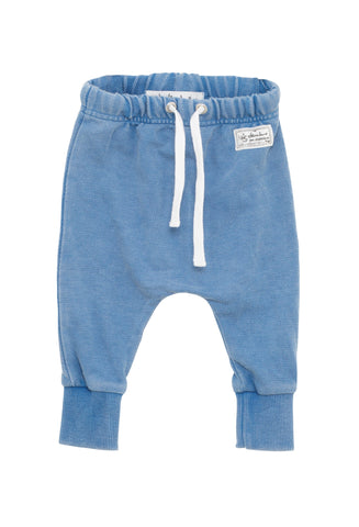 I Dig Denim Indigo Blue Baby Ed Sweater Pants, drop crotch with tapered leg | POCO KIDS