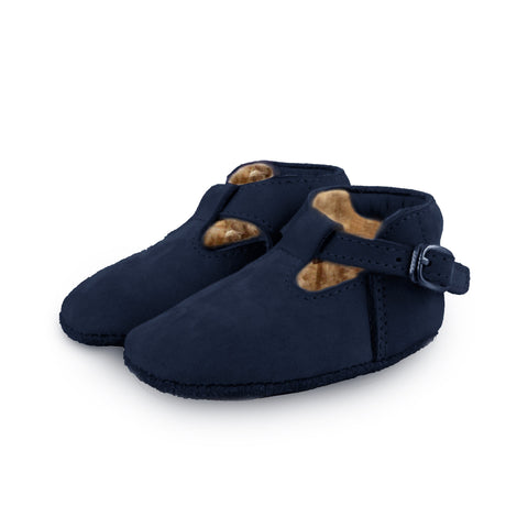 Donsje Navy Elia shoes with faux-fur shearling lining | POCO KIDS