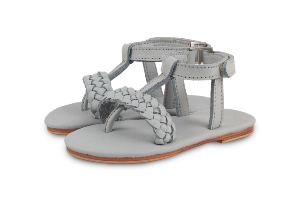 Donsje Light Grey Erica Braid Sandals | POCO KIDS