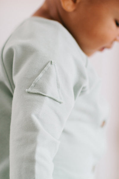 Frnky's Cream Pink Jumpsuit, triangle patch arm detail | POCO KIDS