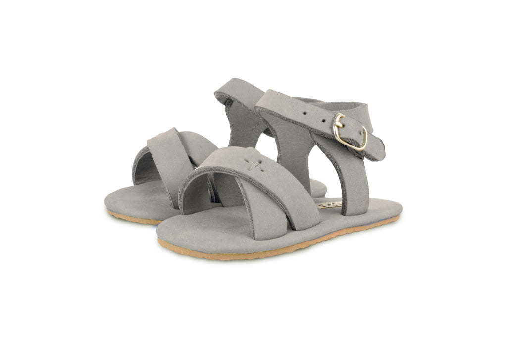 Donsje Light Grey Giggles Leather Sandals | POCO KIDS