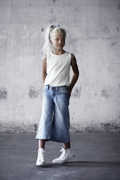 I Dig Denim Light Blue Lowell Flare / Cullotes, wide leg cropped flare, look book image | POCO KIDS