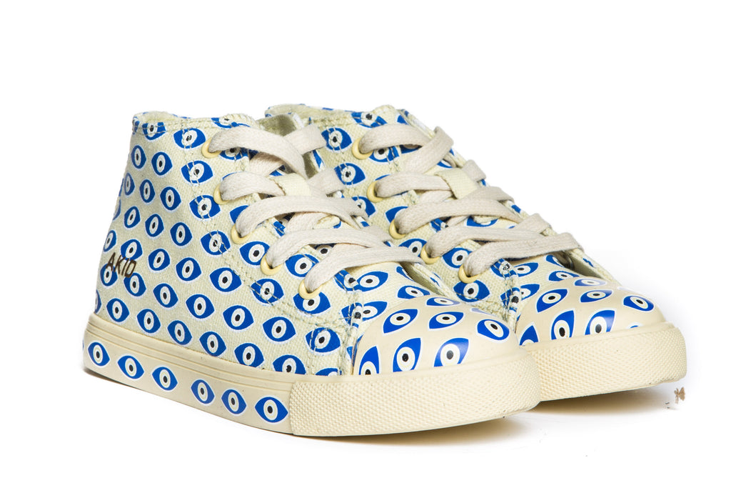 AKID Cream Evil Eye Canvas Anthony Hi tops | POCO KIDS