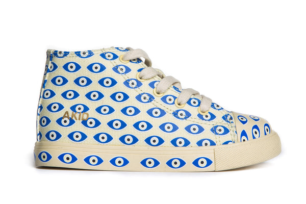 AKID Cream Evil Eye Canvas Anthony Hi tops, side view | POCO KIDS