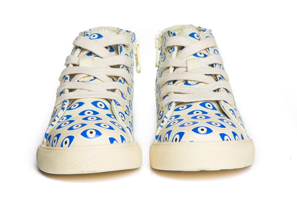 AKID Cream Evil Eye Canvas Anthony Hi tops, front view | POCO KIDS