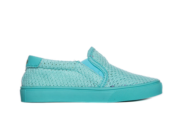 AKID Teal Liv Mesh Slip On shoes, side view | POCO KIDS