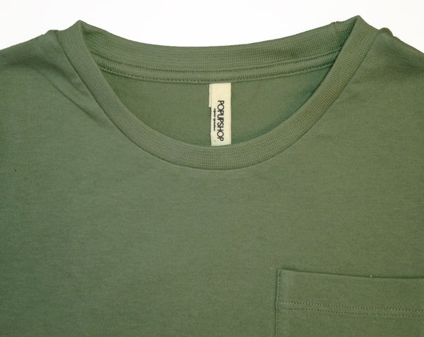 Popupshop Army Green Loose Tee with Pocket, collar detail | POCO KIDS